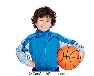 バスケットボール, 愛らしい, 遊び, 子供