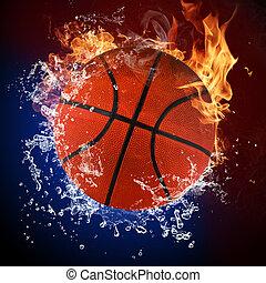 バスケットボール, 炎, 火, はねている水, ボール