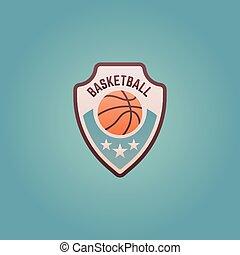 バスケットボール, 紋章, 有色人種, ベクトル, チームスポーツ, 保護