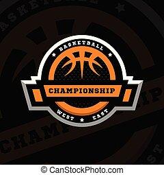 バスケットボール, 紋章, illustration., 選手権, スポーツ, 暗い, バックグラウンド。, ベクトル, ロゴ