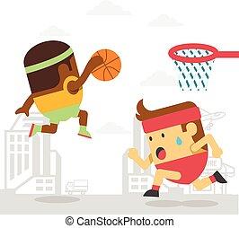 バスケットボール, 遊び, 男性