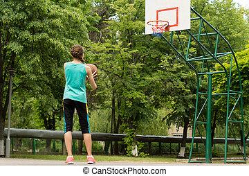 バスケットボール, 運動, 若い, ほっそりしている, 女の子, 遊び