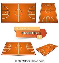 バスケットボール, 項目, court., 4, スポーツ, template.