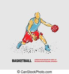 バスケットボール, doodles, ball., プレーヤー, アウトライン, 落書き, ベクトル, style.