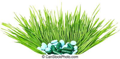 バスケット, タブレット, 丸薬, 草, 小麦