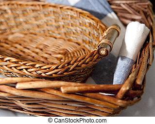 バスケット, ブラウン, 枝編み細工