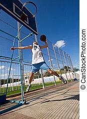 バスケット, プレーヤー, 狙いを定める, バスケットボール