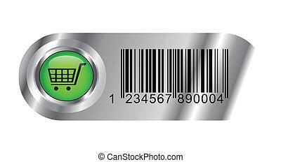 バスケット, ボタン, コード, バー, 買い物