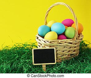 バスケット, 卵, イースター, カラフルである