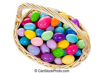 バスケット, 卵, 卵, イースター, 多彩