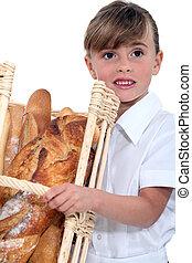 バスケット, 女の子, bread