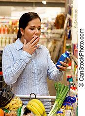 バスケット, 女性買い物, スーパーマーケット