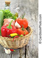 バスケット, 新鮮な野菜, 枝編み細工