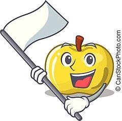 バスケット, 旗, アップル, 黄色, 漫画