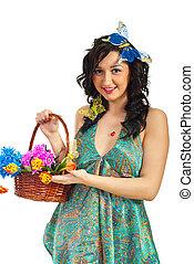 バスケット, 春, 提示, 花, 女の子