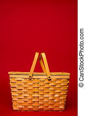 バスケット, 枝編み細工, ピクニック, 赤い背景