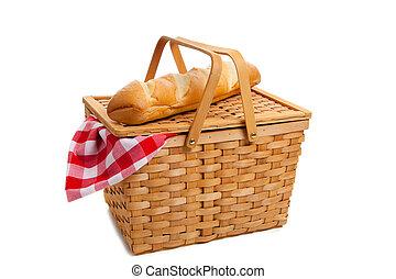 バスケット, 枝編み細工, 白, ピクニック, bread