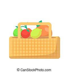 バスケット, 枝編み細工, 野菜, フルーツ, ピクニック