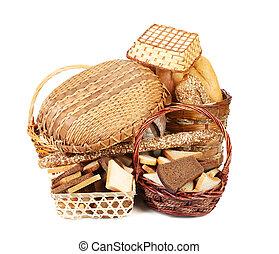バスケット, 枝編み細工, bread, 構成, 回転する