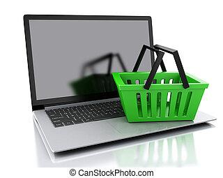 バスケット, 概念, 買い物, 3D, オンラインで