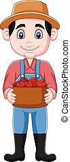 バスケット, 漫画, りんご, 保有物, 農夫