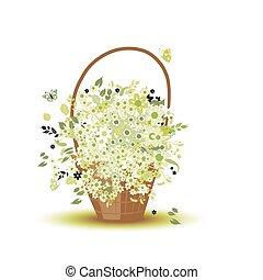 バスケット, 花, デザイン, あなたの