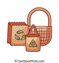 バスケット, 袋, 生態学的, ペーパー