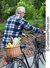 バスケット, 野菜, 届く, 自転車, 人