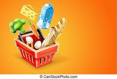 バスケット, 食物買い物, 有機体である