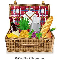 バスケット, 食物, ピクニック, テーブルウェア