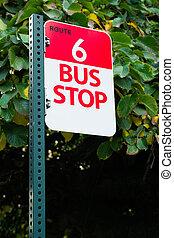 バス停, ルート, 6, 公共の通過, ダウンタウンに, 都市, 交通機関