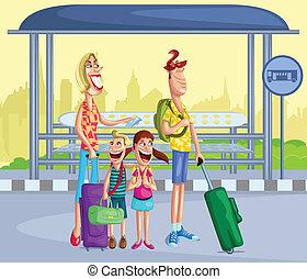 バス停, 家族, 幸せ