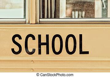 バス, アメリカ人, 学校, 印