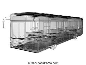 バス, イメージ, 透明, 隔離された