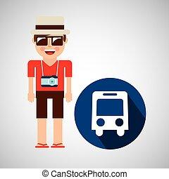 バス, カメラ, 観光客, 輸送, 人