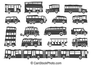 バス, シルエット, スタイル, 面白い