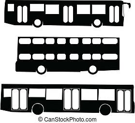 バス, シルエット, 観光客