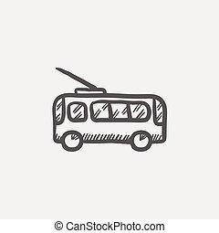 バス, スケッチ, アイコン