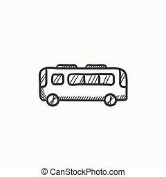 バス, スケッチ, icon.