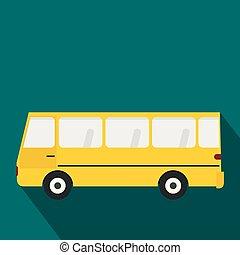 バス, スタイル, アイコン, 平ら
