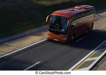 バス, スピード, 赤, ハイウェー