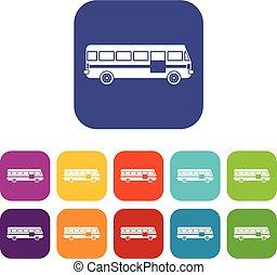 バス, セット, アイコン
