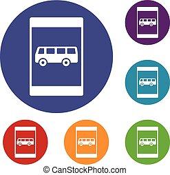 バス, セット, 一時停止標識, アイコン