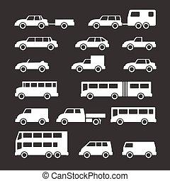 バス, セット, 自動車, アイコン