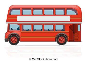 バス, ベクトル, ロンドン, 赤, イラスト