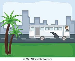 バス, ベクトル, -, 漫画, 背景