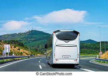 バス, ポーランド, 白, 観光客, 道