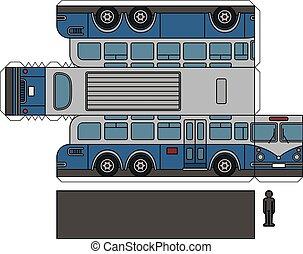 バス, モデル, ペーパー, 古い