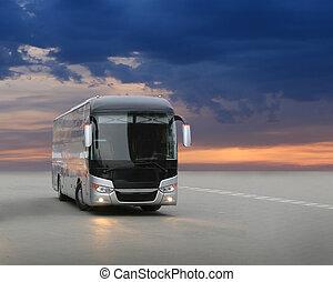 バス, 上に, アスファルト, 中に, ∥, 夕方, 上に, 日没