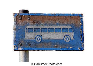 バス, 上に, 一時停止標識, grungy, 白